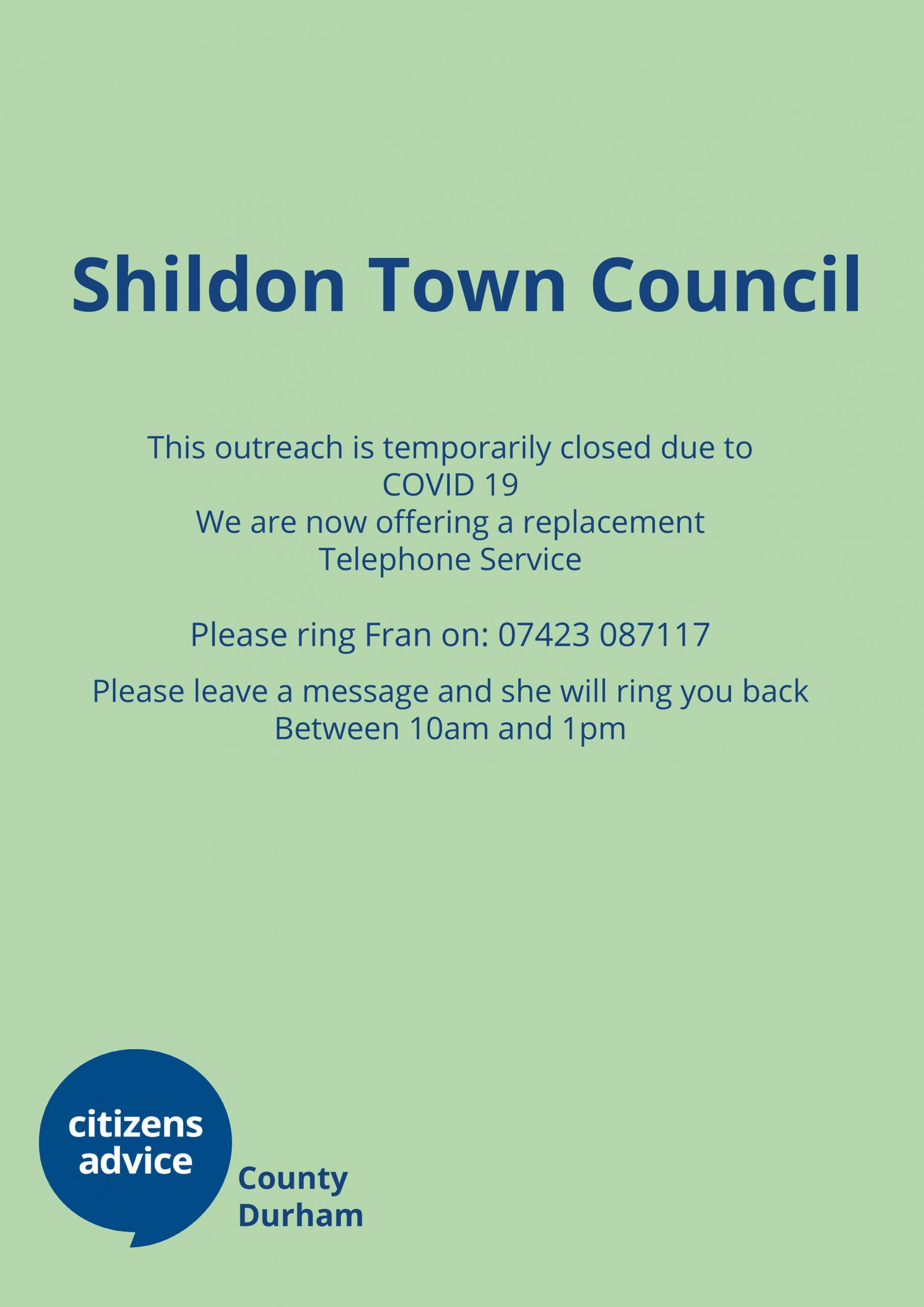 Shildon – Outreach closed but please call…