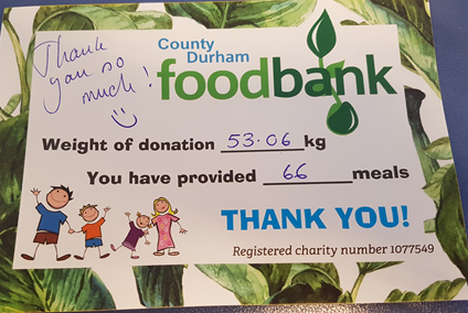 Donating to County Durham foodbank this Christmas