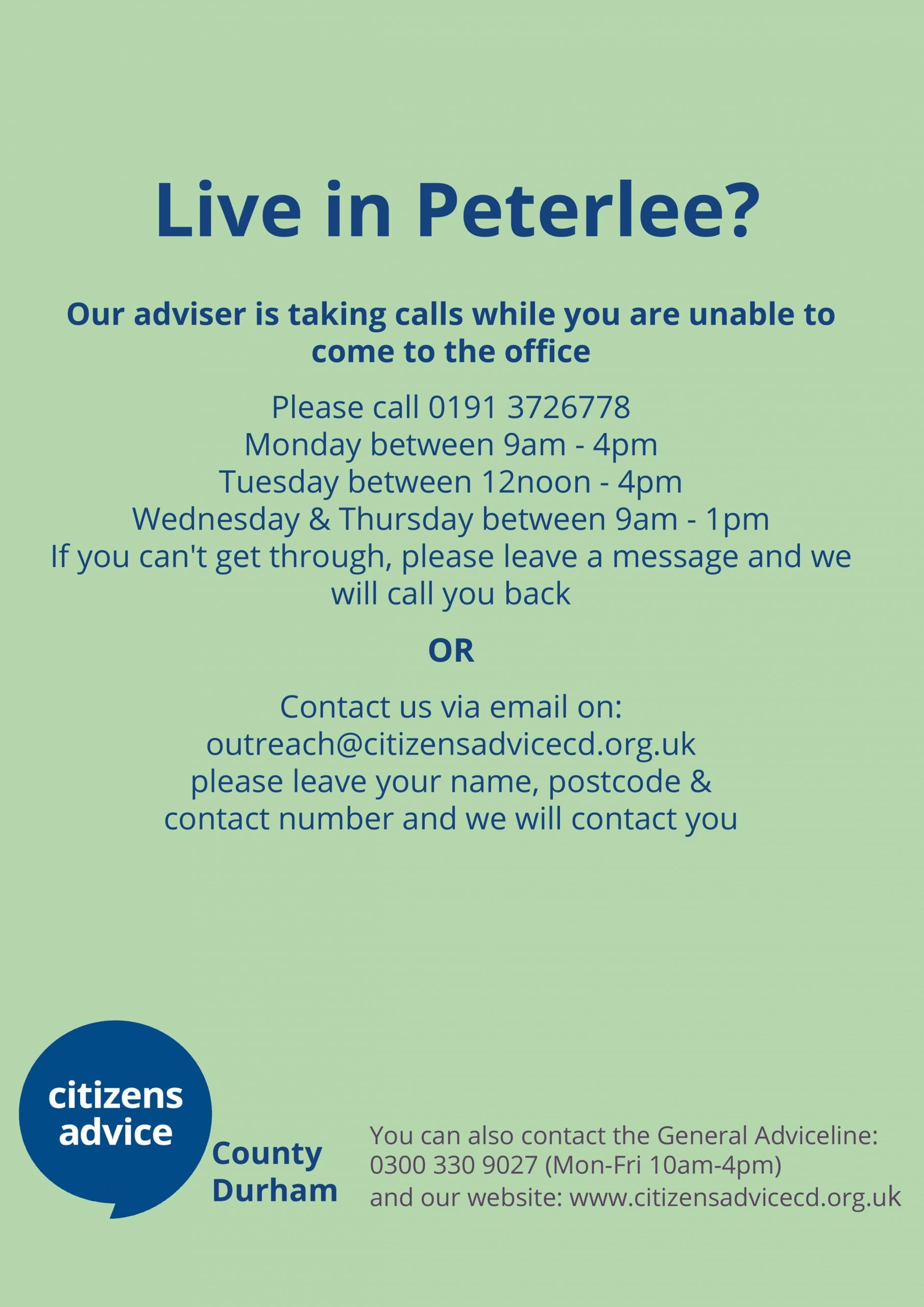 Peterlee Residents advice contact