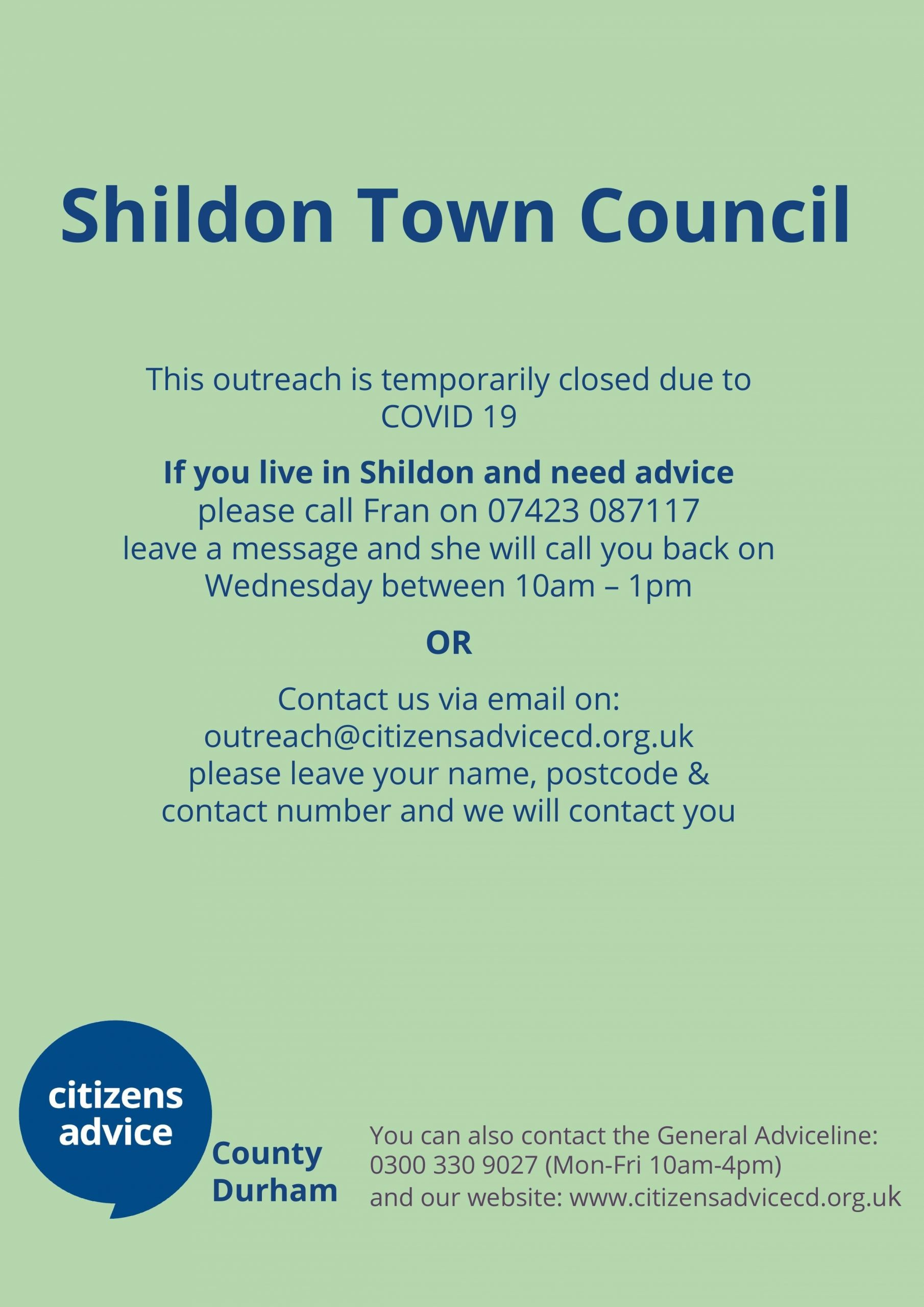 Shildon Town Council- Outreach closed but please call