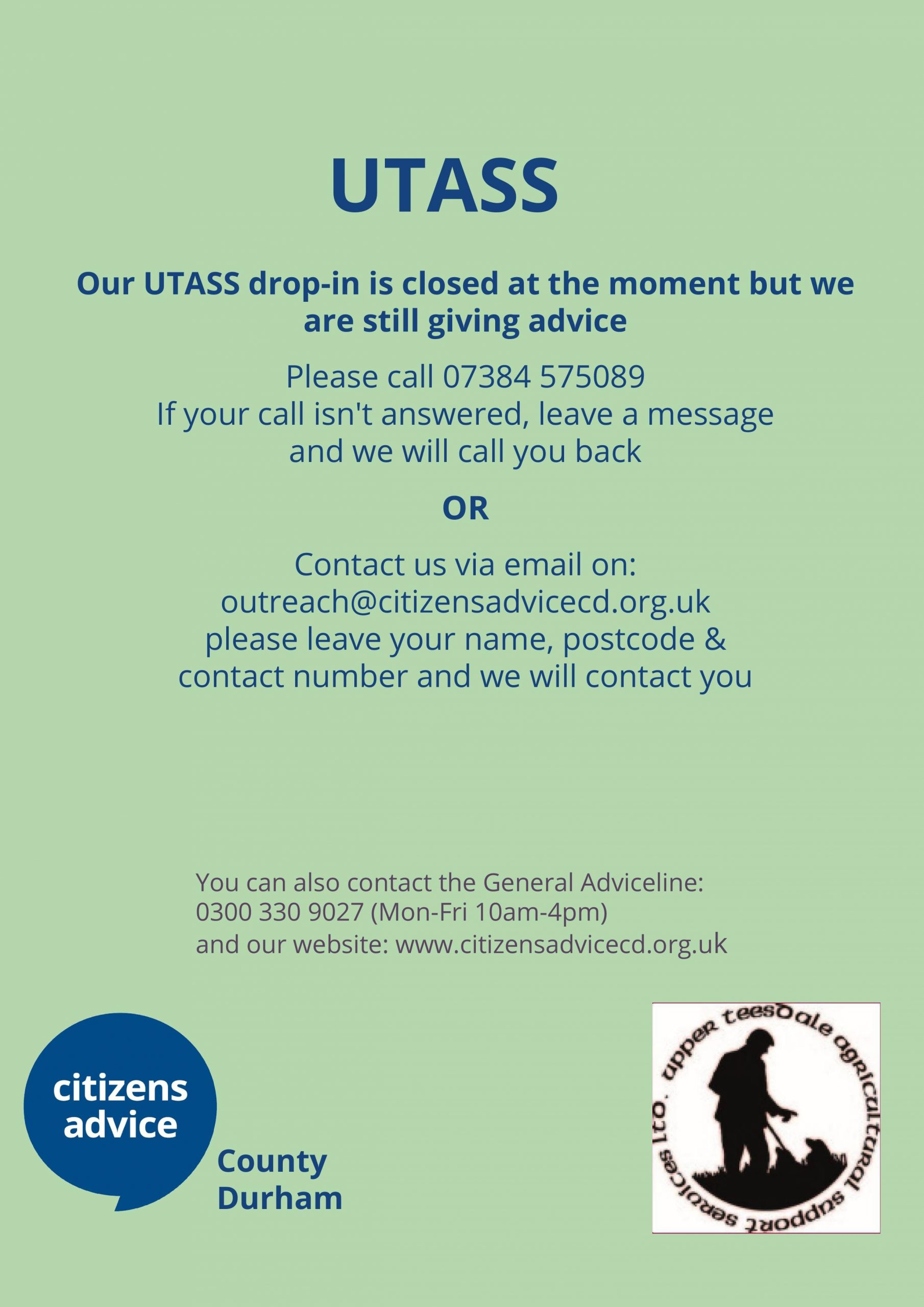 UTASS drop in closed – but please call